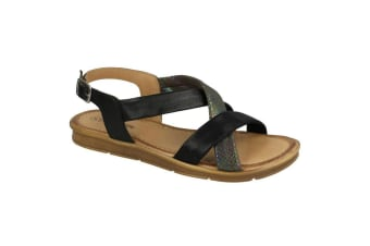 Leather Collection Womens/Ladies Flat Sling Back Sandals (Black) (3 UK)