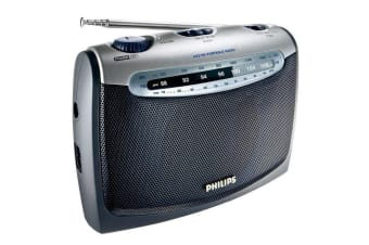 Philips AE2160 Portable FM AM Radio/AC Power Mains & Batteries/Earphone Jack 3.5