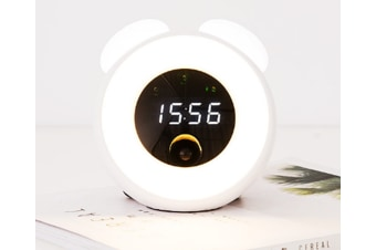 Select Mall Creative Time Alarm Clock Night Light Bedside with Sleeping Table Lamp Sound Control with Time-White