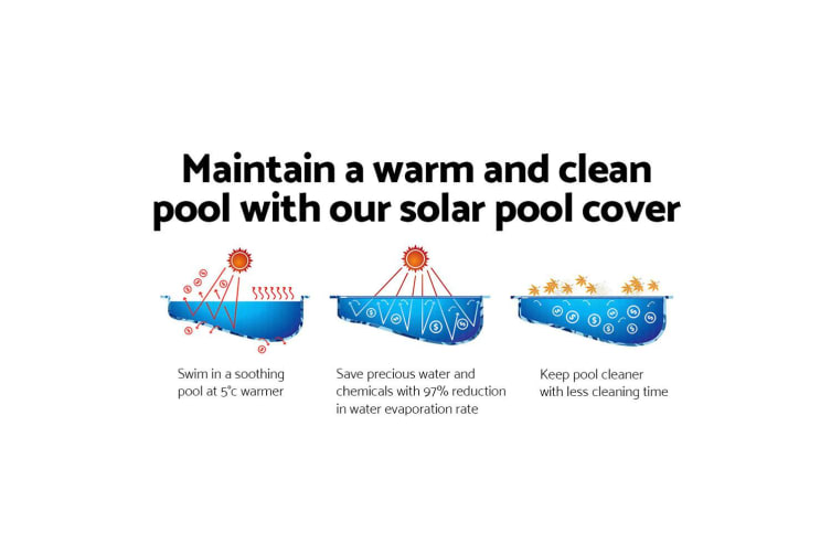 Solar Swimming Pool Cover 500 Micron Outdoor Bubble Blanket 8X4.2M