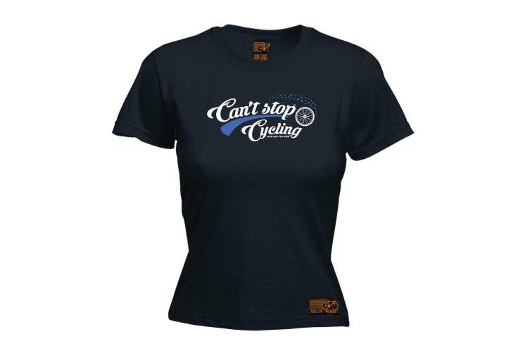 Ride Like The Wind Cycling Tee - Cant Stop - (X-Large Black Womens T Shirt)