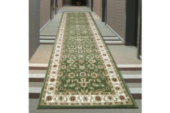 Classic Runner Rug Green with Ivory Border