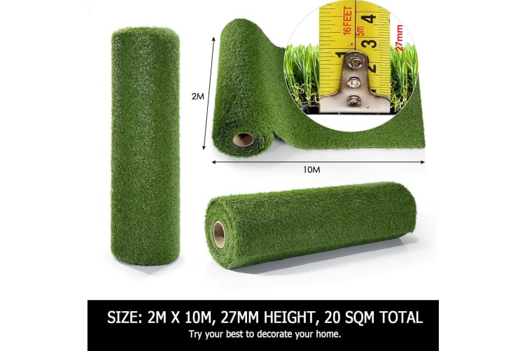 Artificial Carpet Fake Grass Synthetic Thick Lawn 2Mx10M -17mm