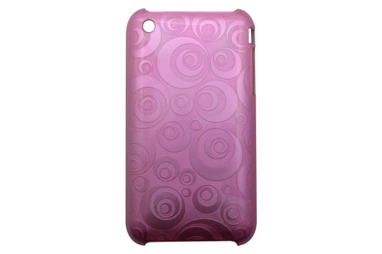 """For iPhone 3 3GS Case """"Geometrical Circles"""" Durable Shielding Cover Pink"""