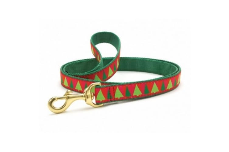 Up Country Festive Christmas Trees Dog Lead (Red/Green) (0.6in x 4ft)