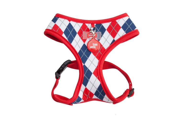 Puppia Argyle Dog Harness A (Red) (L)