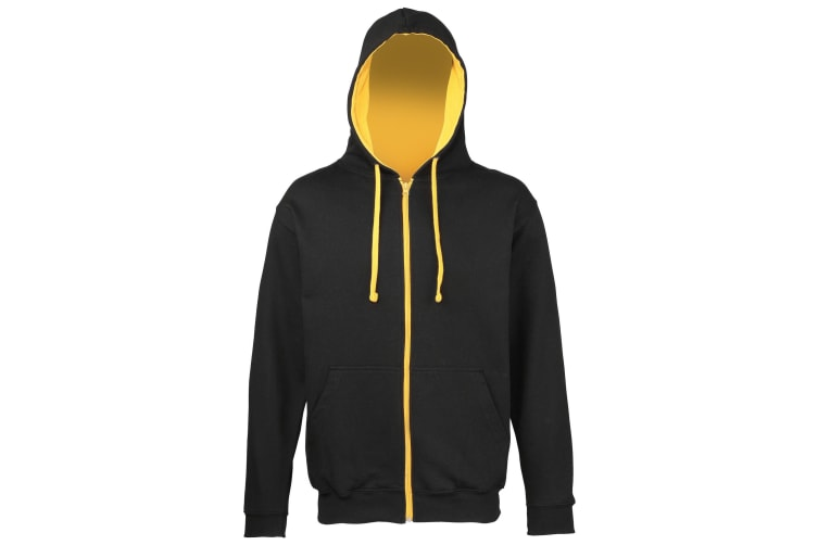 Awdis Mens Varsity Hooded Sweatshirt / Hoodie / Zoodie (Jet Black/Gold) (L)