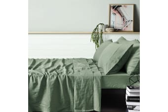 100% Linen Sage Sheet Set QUEEN