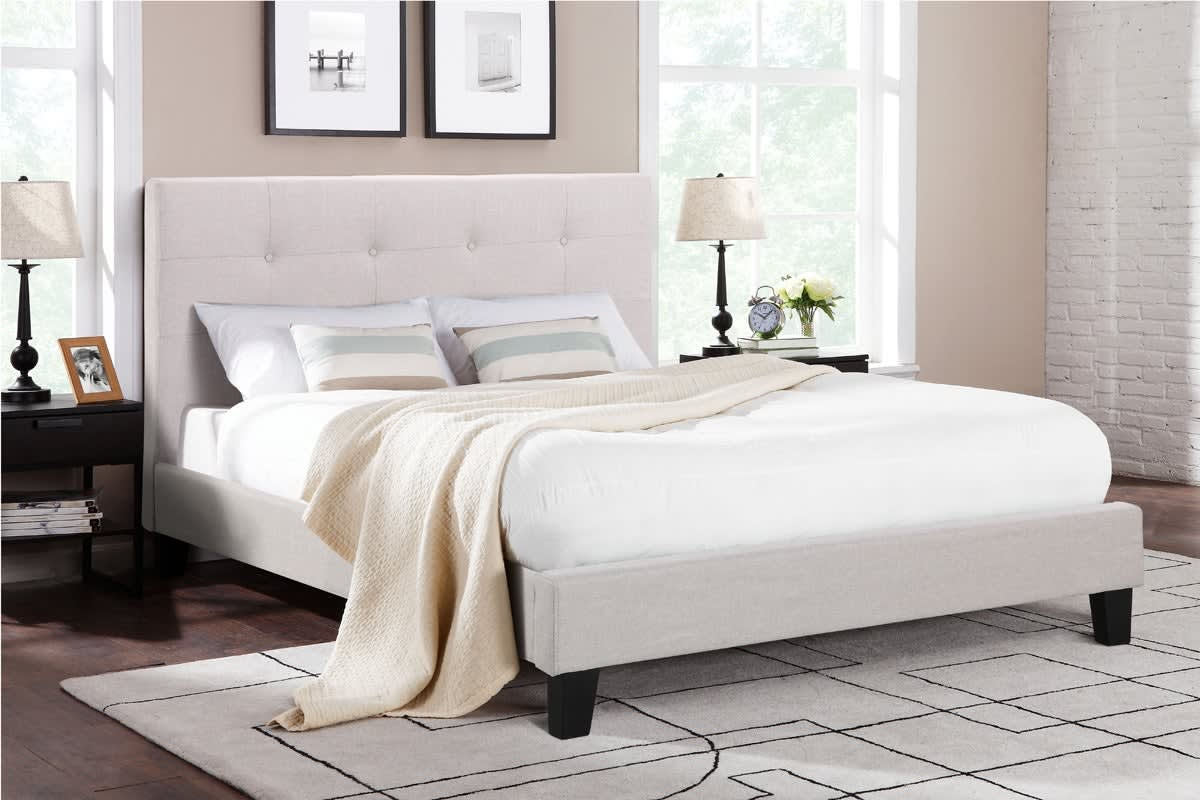 Ovela Bed Frame - Positano Collection (Beige, King)