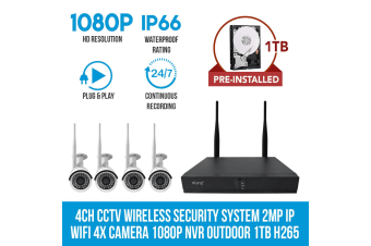 Elinz 4CH CCTV Wireless Security System 2MP IP WiFi 4x Camera 1080P NVR Outdoor 1TB H265