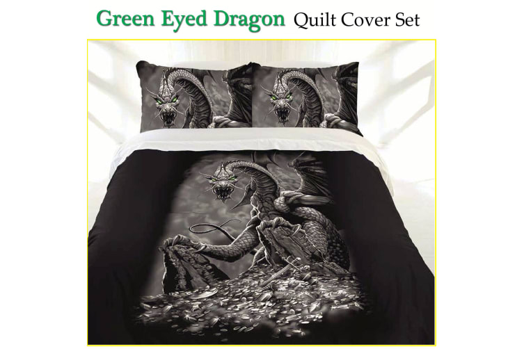 Green Eyed Dragon Quilt Cover Set Single by Just Home