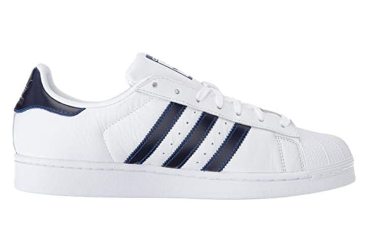 Adidas Originals Unisex Superstar Shoe (White/Gold/Navy, Size 10.5 US)