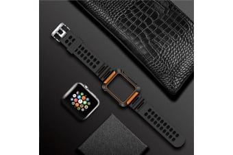 For Apple Watch Series 4 44mm Armour Watch Strap  Orange Band Protective Cover