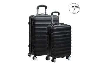 2 Piece Lightweight Hard Suit Case (Black/Ribbed)