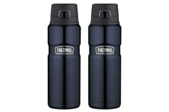 2x Thermos 710ml Vacuum Insulated Stainless Steel Flask Water Bottle Midnight BL