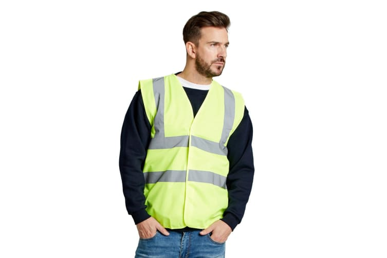 Ultimate Everyday Apparel Mens UCC 4 Band Safety Waistcoat (Hi-Vis Yellow) (XXL)