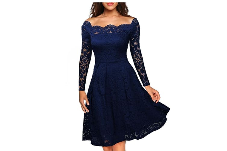 Women'S Cocktail Floral Lace Off Shoulder Evening Party Dress - Navy Blue Navy M Long Sleeve