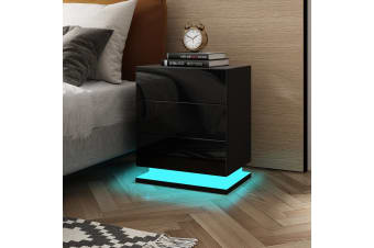 Black High Gloss Front Bedside Table Three Drawer Nightstand with RGB LED