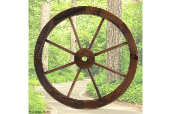 Large Vintage Wooden Wagon Wheel for Garden Decor