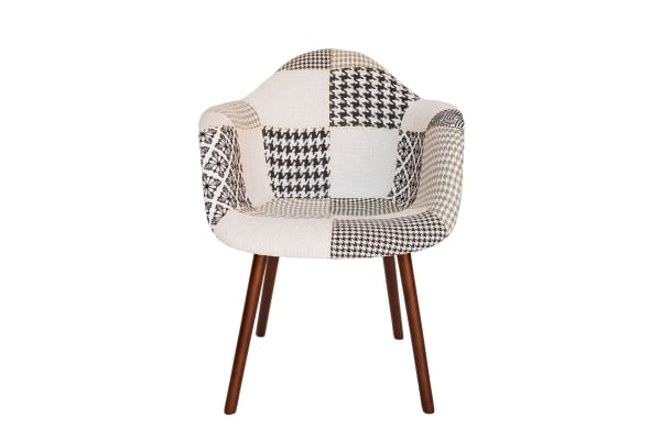 Replica Eames DAW Hal Inspired Chair | Multicoloured Patches V3 Fabric Seat | Walnut Legs