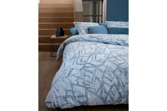 Octorber Leaf Blue Cotton Percale Quilt Cover Set by Bedding House