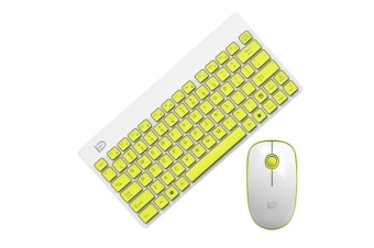 Wireless Keyboard And Mouse Set Laptop Mini-Usb Mouse Keyboard - White Yellow Yellow