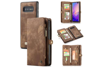 For Samsung Galaxy  S10+ Plus Case Brown Wallet Leather Detachable Flip Cover