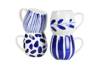 Robert Gordon Hug Me Mugs Set of 4 Indigo Brush