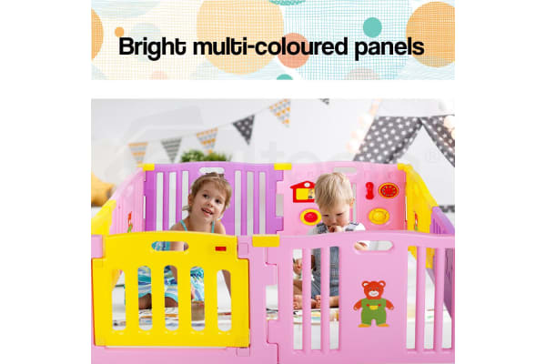 NEW 8pc Baby Playpen - Pink Toddler Safety Monitor Gate Fun Yellow Plastic Child