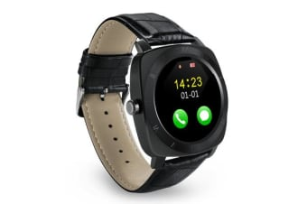 "TODO Bluetooth V3.0 Smart Watch Fitness Tracker 1.33"" Lcd Rechargeable Handsfree - Black"