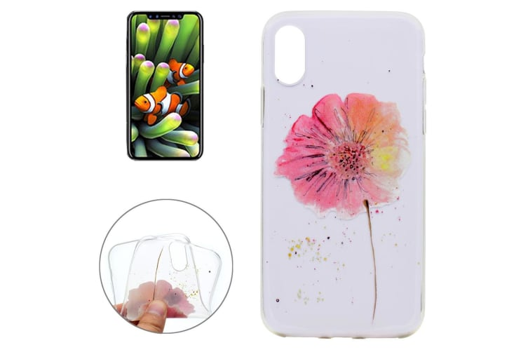 For iPhone XS X Case  Aquacoloured Flower High-Quality Grippy Protective Cover