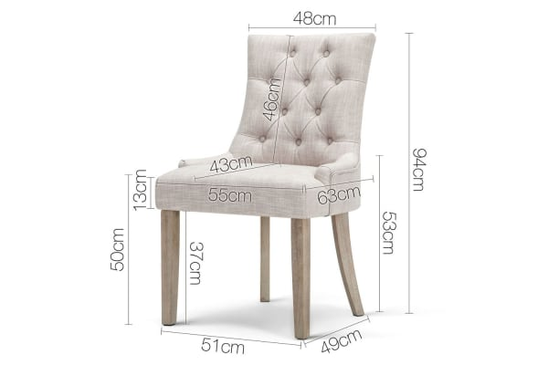 Set of 2 French Provincial Dining Chair (Beige)