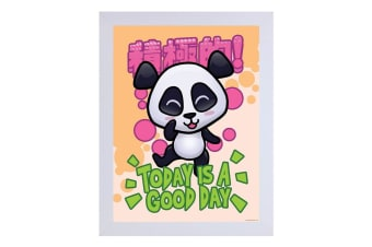 Handa Panda Today Is A Good Day White Wooden Framed Print (White)