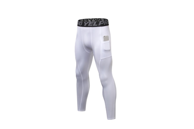 Men'S Compression Base Layer Tights Pants Fitness Running White S