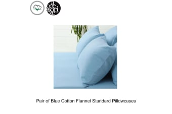 Pair of Blue Cotton Flannel Standard Pillowcases by Accessorize