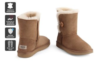 Outback Ugg Boots Short Button - Premium Sheepskin (Chestnut, 7M / 8W US)