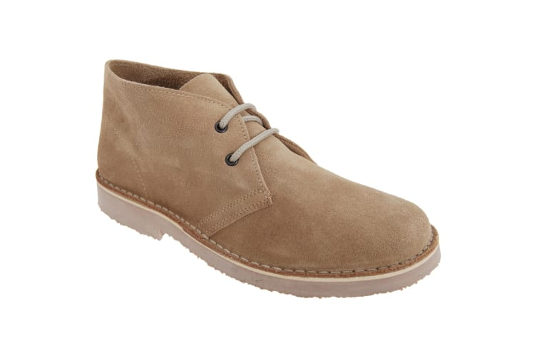 Roamers Mens Real Suede Round Toe Unlined Desert Boots (Camel) (8 UK)