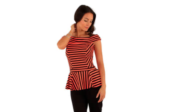Lili London Womens/Ladies Spirit Striped Bardot Peplum Top (Black/Orange)