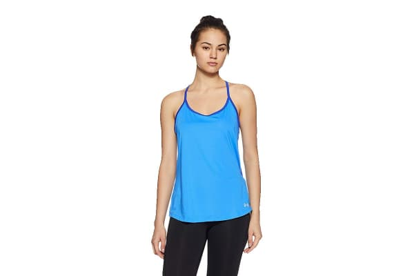 Under Armour Women's Fly-By Racerback Tank (Mako Blue/Reflective, Size Small)