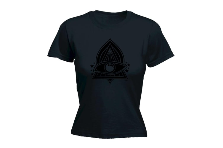 123T Funny Tee - White Triangle Eye - (X-Large Black Womens T Shirt)