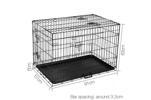 """36"""" Foldable Metal Dog Cage with Cover (Grey)"""