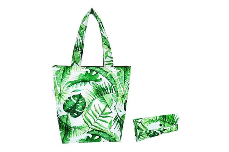 3x Sachi 40cm Insulated Thermal Cooler Shopping Bag Market Tote Jungle Leaf GRN