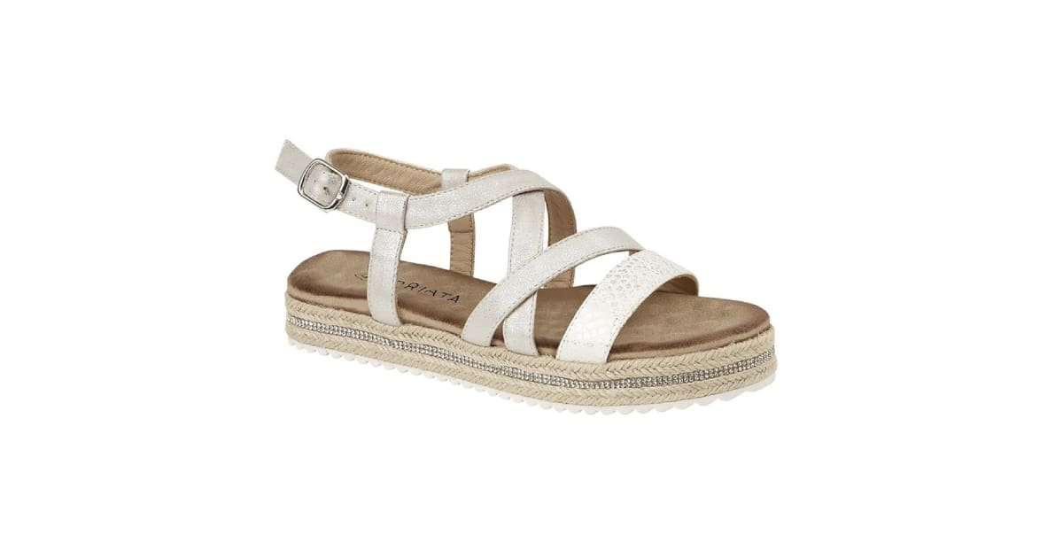 Cipriata WomensLadies Carina Crossover Buckle Sandals (Silver Metallic) (6 UK) | Shoes |