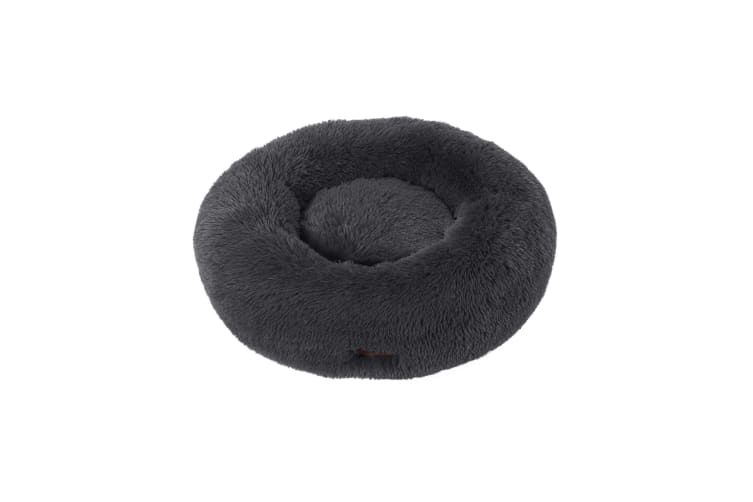 Charlie's Faux Fur Fuffy Calming Pet Bed Nest D90cmxH25cm Charcoal