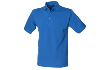 Henbury Mens Classic Plain Polo Shirt With Stand Up Collar (Royal)