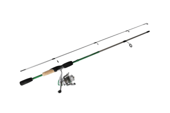 Green 5'6 Okuma Steeler XP 2 Piece Fishing Rod and Reel Combo Spooled with Line