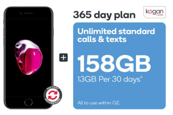 Apple iPhone 7 Refurbished (32GB, Black) + Kogan Mobile Prepaid Voucher Code: MEDIUM (365 Days | 13GB Per 30 Days)