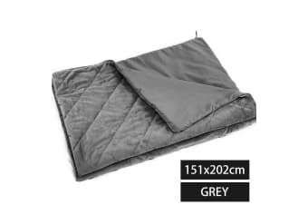 DreamZ 202x151cm Anti Anxiety Weighted Blanket Blankets Bamboo Cover Only Grey