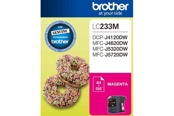Brother LC-233MMagenta Ink 550 Page/For J4120/4620/5720DW