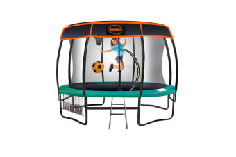 Kahuna Trampoline 8 ft with Basketball set and Roof - Green